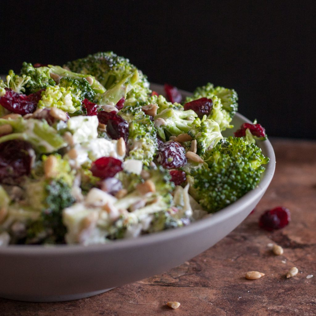 Creamy crunchy sweet and salty, this broccoli salad is always a hit! Get the recipe on GoodieGodmother.com