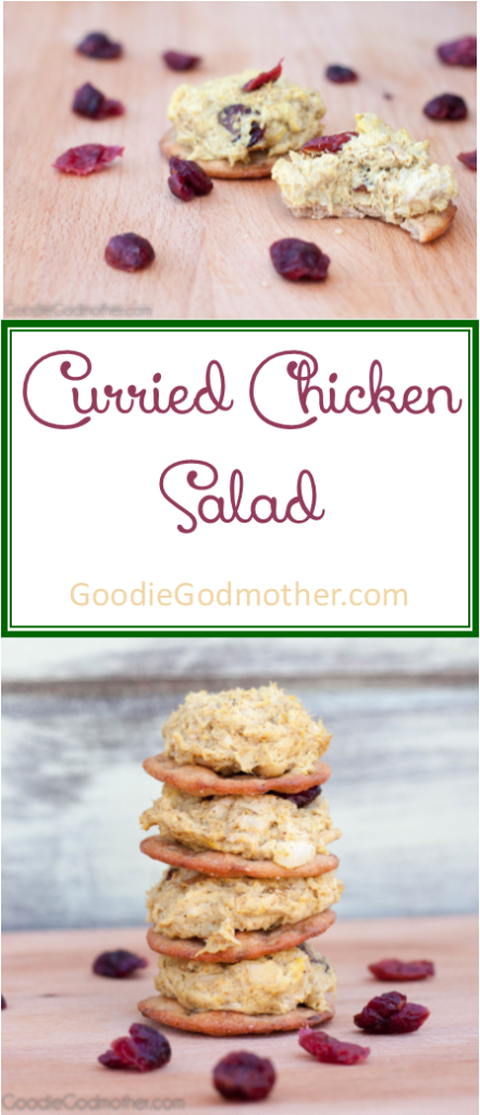 Easy curried chicken salad recipe is great for everything from salads to sandwiches and easy party appetizers. Get the recipe on GoodieGodmother.com