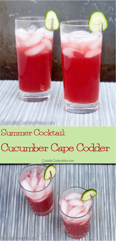 The perfect summer cocktail for a crowd! Cucumber, cranberry juice, and lime come together for a refreshing punch that is equally delicious as a cocktail or mocktail! Get the Cucumber Cape Codder Recipe on GoodieGodmother.com