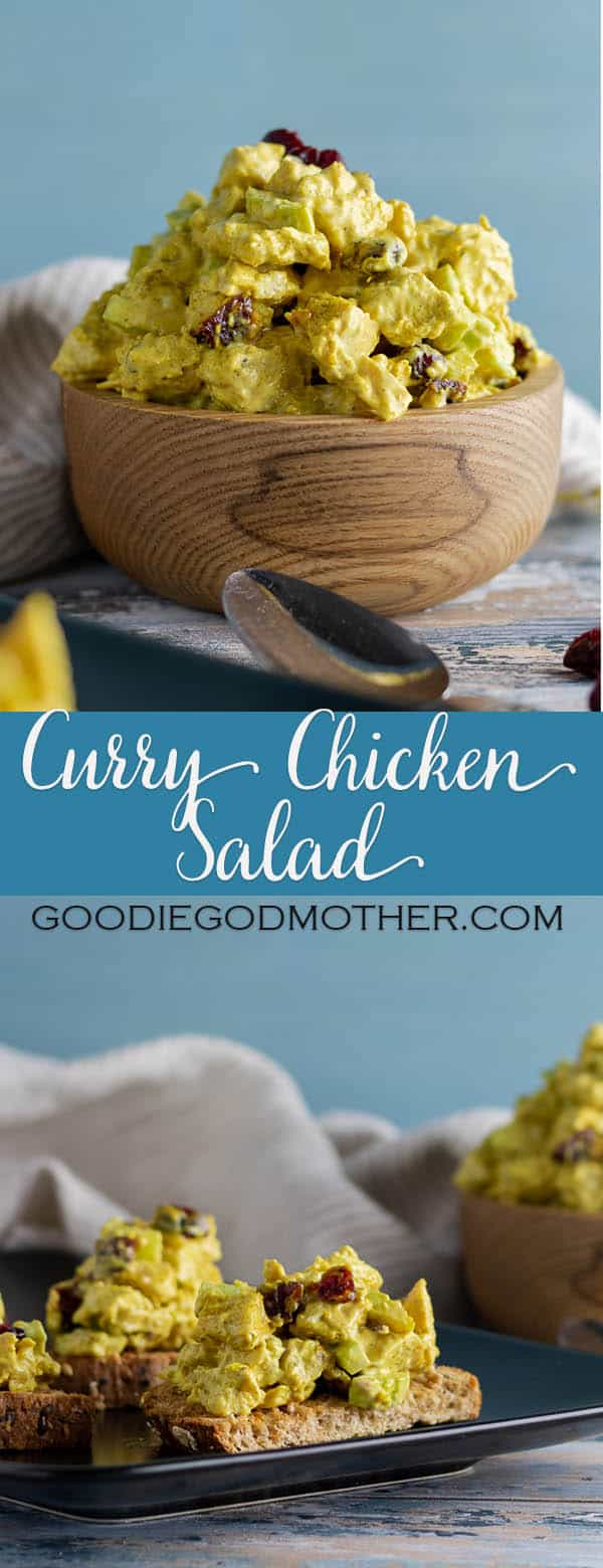Curry chicken salad is a treat! Sweet curry adds an Indian inspired kick to classic chicken salad, making this a great twist on an old favorite. * GoodieGodmother.com