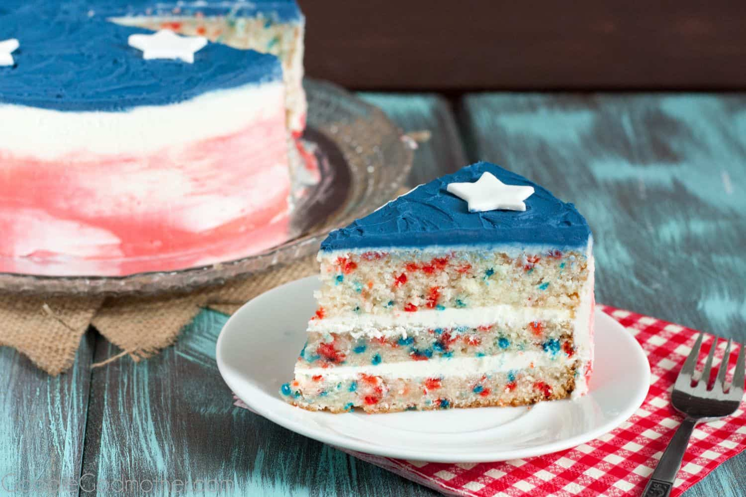 Save this easy, from scratch, patriotic funfetti cake recipe! Includes video link for two easy cake decorating tutorial videos. *Goodie Godmother*