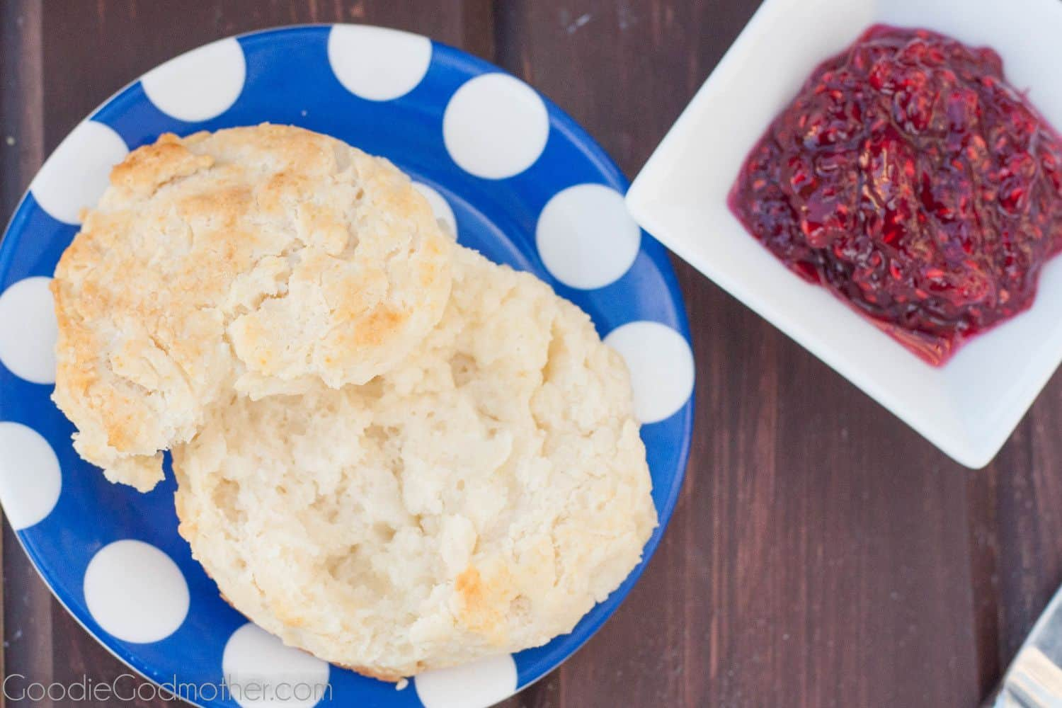 Flaky Southern Buttermilk Biscuits are easy to make at home in minutes. Get the recipe on GoodieGodmother.com
