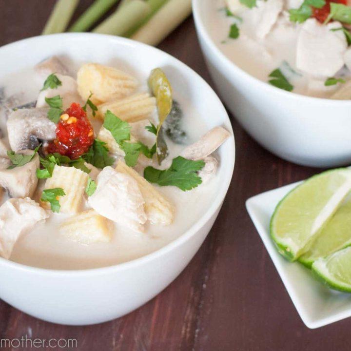 Thai ginger lemongrass soup - Authentic Tom Kha Gai - A nourishing and healthy Thai soup recipe by GoodieGodmother.com
