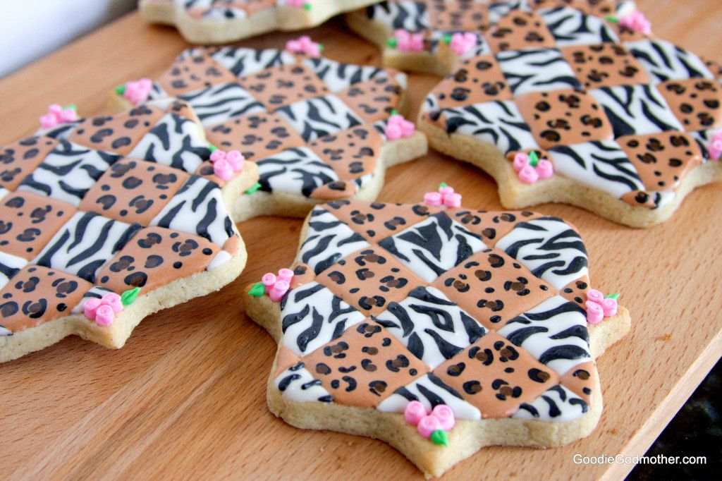 Learn to make stunning quilted animal print sugar cookies on GoodieGodmother.com