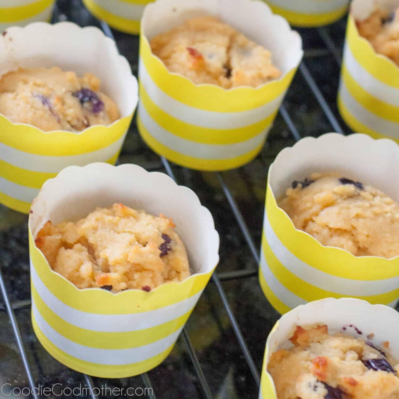 Nut free paleo lemon blueberry cupcakes! Gluten free, dairy free, refined sugar free... but not taste free! Recipe on GoodieGodmother.com