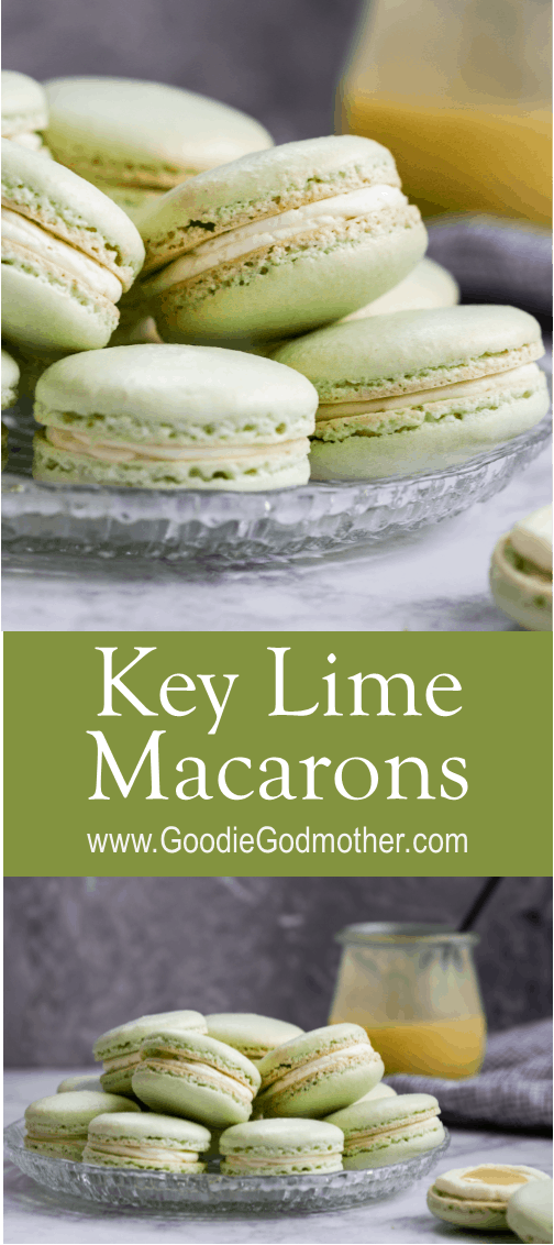 Key lime macarons are filled with a key lime buttercream and key lime curd. Lots of key lime flavor packed into every naturally gluten-free macaron bite!* Recipe on GoodieGodmother.com