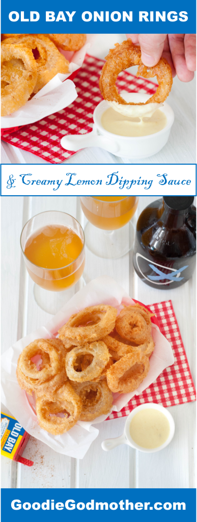 Beer Battered Old Bay Onion Rings with Creamy Lemon Dipping Sauce - An appetizer or side dish that's boardwalk ready, no matter where you are!