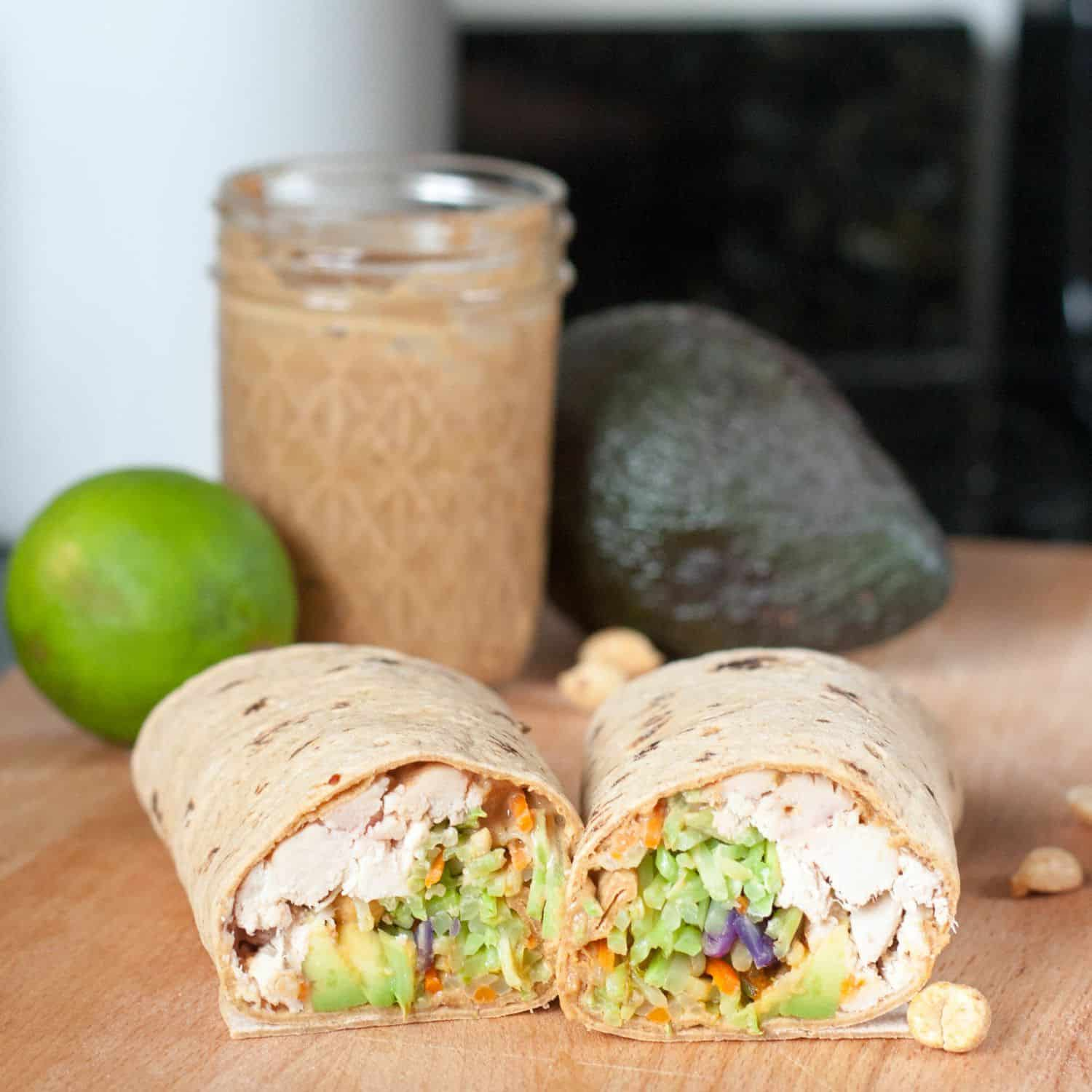 Easy Thai Peanut Wrap is a healthy make ahead quick meal. Get the recipe on GoodieGodmother.com