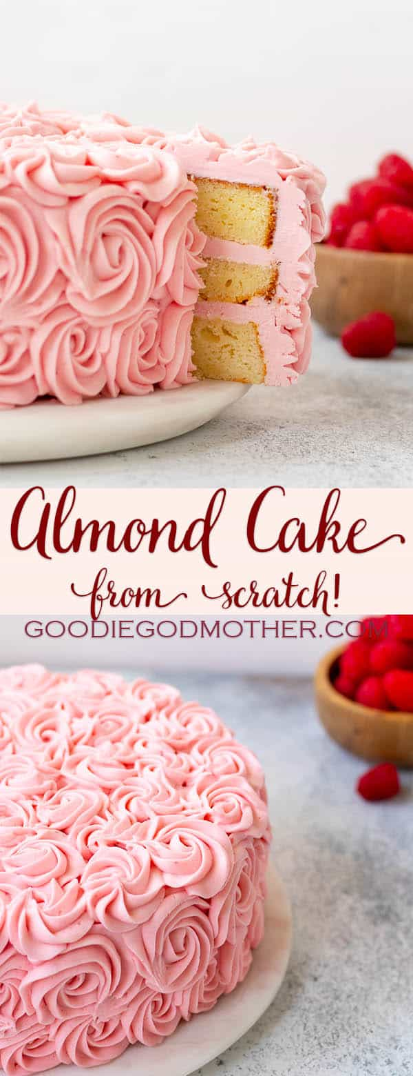 Almond cake from scratch is a cake recipe every baker needs in their repertoire! You don't need a box mix to make a delicious almond cake with a beautiful, moist crumb. * Recipe on GoodieGodmother.com