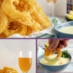 Beer Battered Old Bay Onion Rings with Creamy Lemon Dipping Sauce - An appetizer or side dish that's boardwalk ready, no matter where you are! * GoodieGodmother.com #onionrings #friedfood #foodideas #oldbay #sidedish #appetizer #dippingsauce