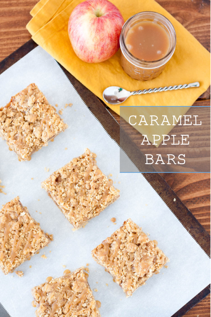 Caramel Apple Bar Recipe - A decadent shortbread crust, fresh apples and caramel, a crunchy strudel topping, and an extra drizzle of caramel... these were gone in no time!