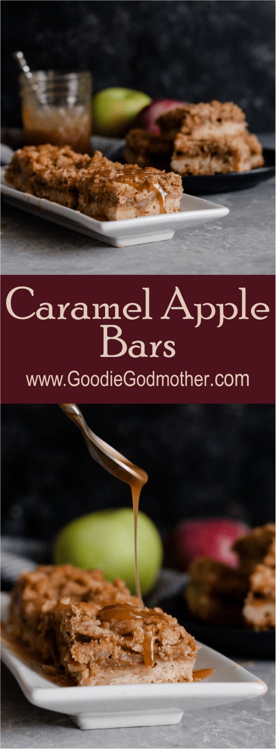 These popular caramel apple bars are a go-to recipe for a crowd. Drips of caramel, loads of apple flavor, and browned butter make these bars a favorite dessert!  * Caramel Apple Bar Recipe on GoodieGodmother.com