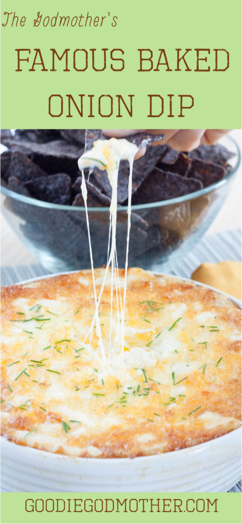 THE baked onion dip you've been waiting for! Super easy, cheesy, and *always* the first to go at every tailgating party. Recipe on GoodieGodmother.com