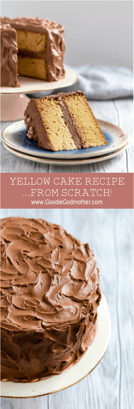 When you need a classic vanilla cake, this yellow cake recipe from scratch is what you want! A moist and flavorful butter cake, this from scratch vanilla cake recipe is a sure to please your people.* Recipe on GoodieGodmother.com