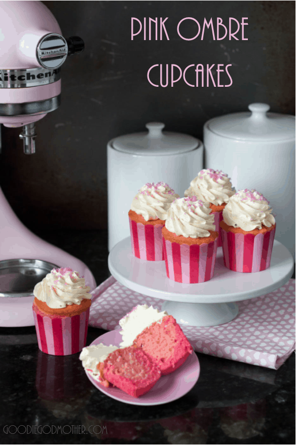 Pink Ombre Cupcake recipe for #10000Cupcakes campaign by @KitchenAidUSA and @hhgregg. Find the vanilla cupcake recipe and full tutorial on GoodieGodmother.com #ad