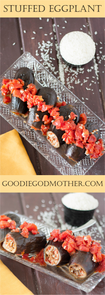 A family recipe I love! Eggplants stuffed with a savory rice and meat mixture are easy to make and make a beautiful dinner presentation.