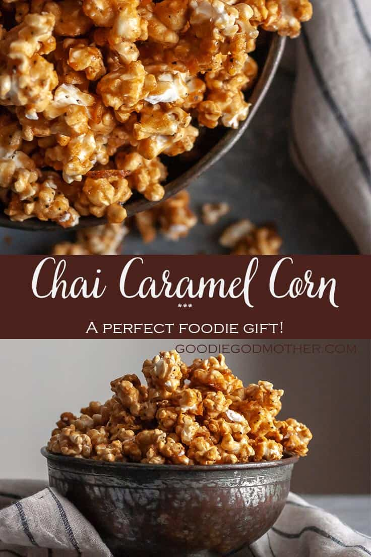 Crunchy, sweet, and a perfect foodie gift for tea lovers, this Chai Tea Caramel Corn recipe is sure to please! * Recipe on GoodieGodmother.com