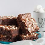 To die for caramel hot chocolate brownies! A fudgy, creative dessert using hot chocolate mix. Drizzle with extra caramel after baking for a super decadent treat.