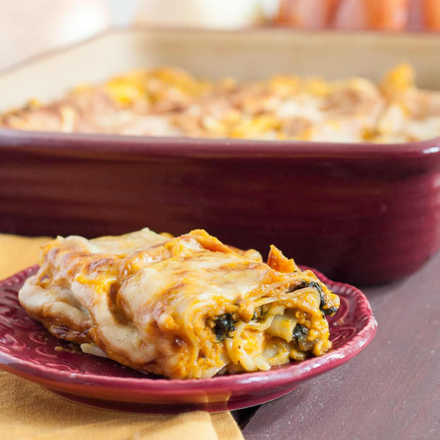 Savory Pumpkin Lasagna Recipe - perfect as a vegetarian Thanksgiving main dish!