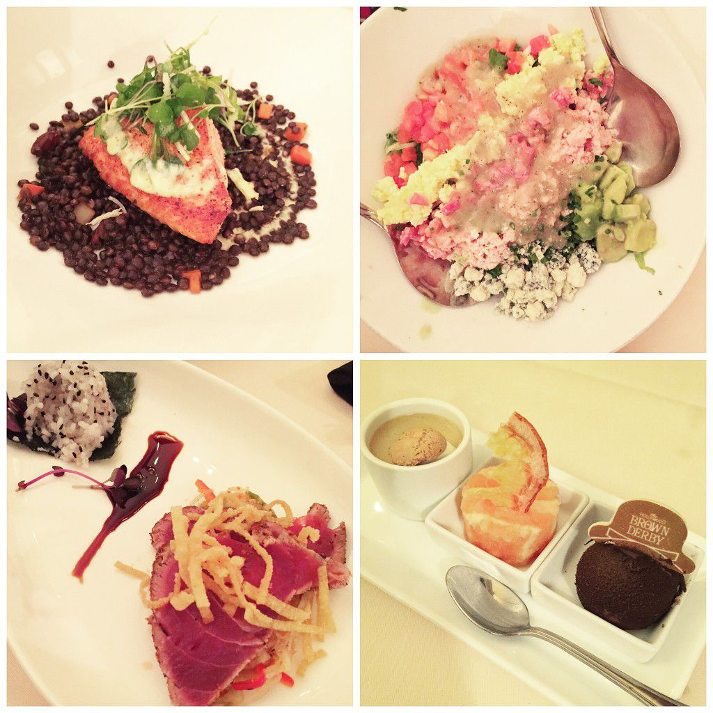 Brown Derby Lunch (clockwise from top left) - salmon, Cobb salad, seared tuna, dessert trio