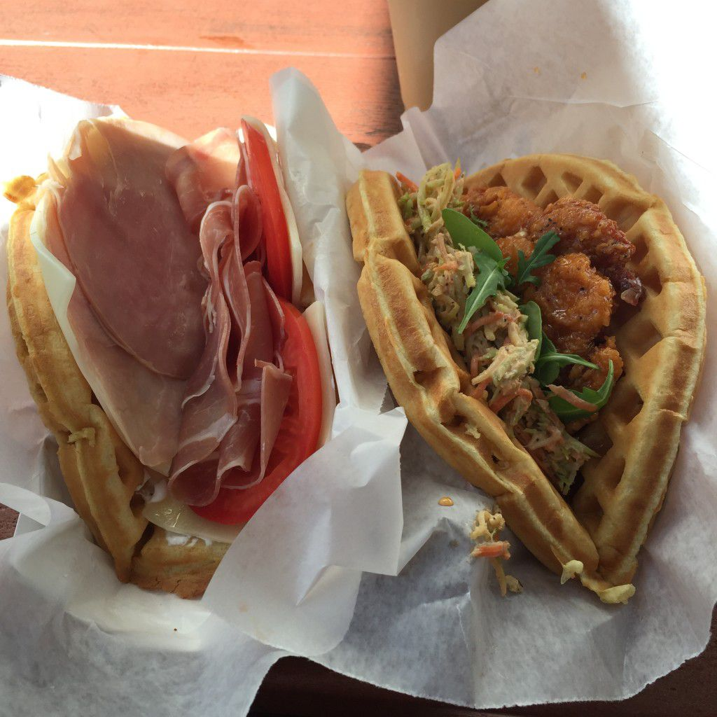 Savory waffles at Magic Kingdom. Prosciutto and swiss on the left, sweet and spicy chicken on the right.
