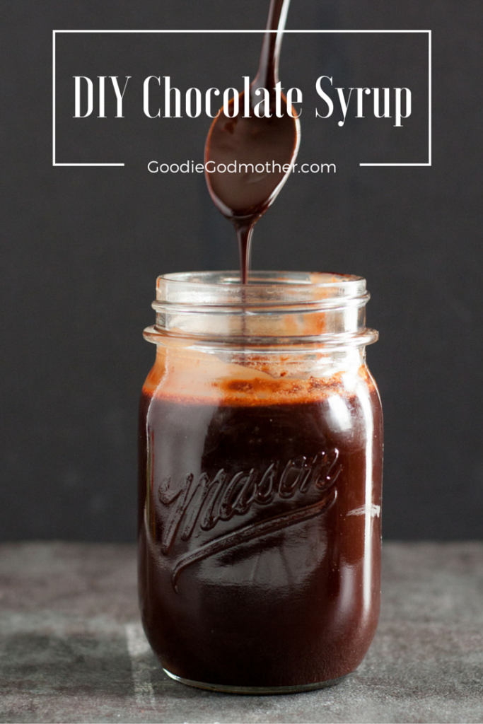 Make your own chocolate sauce - with no corn syrup! Cooks up in minutes, and is ready to make easy chocolate milk or drizzle over ice cream, into coffee or hot chocolate, or over cakes or cupcakes! Recipe on GoodieGodmother.com