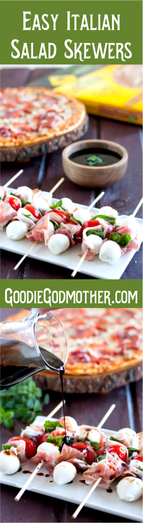 Keep the holidays simple with flavorful recipes like these Easy Italian Salad Skewers with a homemade balsamic glaze! Recipe on GoodieGodmother.com #NestleHoliday #ad