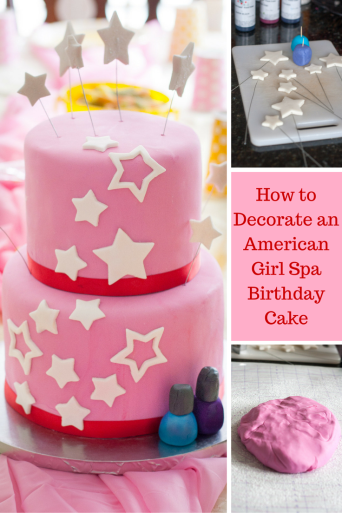 How to decorate an American Girl Spa birthday cake! Easy to do, even for those new to fondant, and perfect for the American Girl lover in your life! Read the full tutorial on GoodieGodmother.com