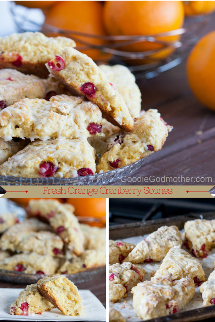 Fresh Cranberry Orange Scones - a perfect winter breakfast treat! Get the recipe on GoodieGodmother.com