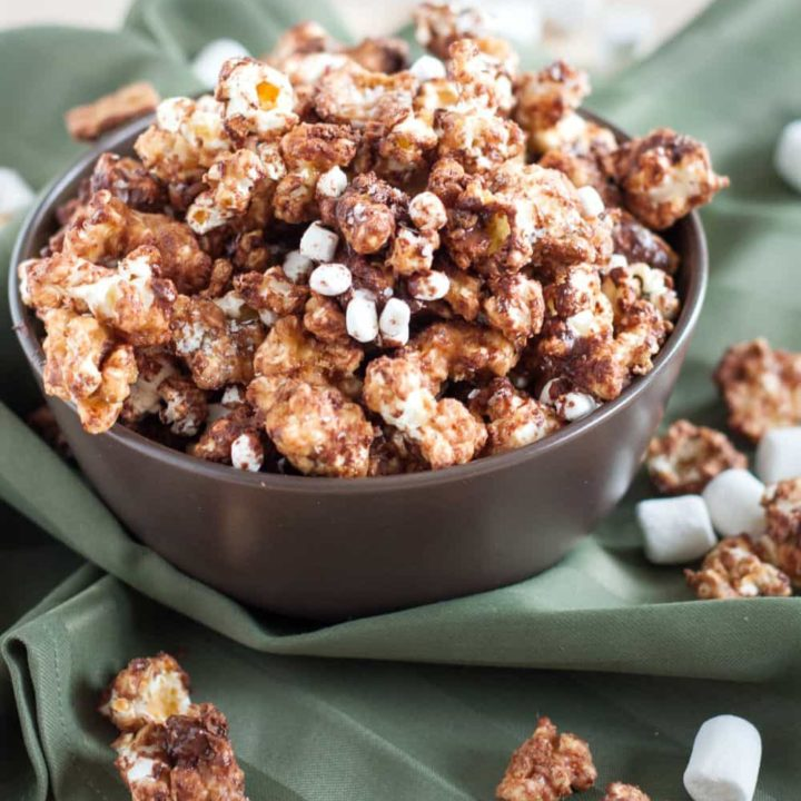 Crunchy s'mores caramel corn is an addicting snack that's perfect year-round!