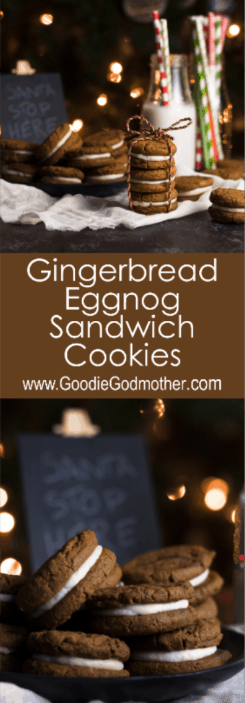 """Two iconic holiday flavors wrapped up into one """"first cookie gone at the cookie swap"""" recipe. Make gingerbread eggnog sandwich cookies for someone on your Nice List. * Visit GoodieGodmother.com for the recipe!"""