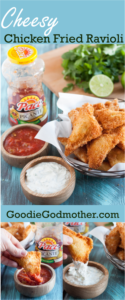 Win MVP at your next party with these Cheesy Chicken Fried Ravioli! An easy party appetizer recipe with amazing flavor! Get the recipe on GoodieGodmother.com #ad #KickUpTheFlavor