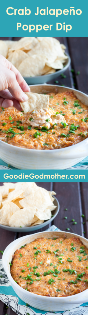 The best crab jalapeno popper dip I've tried! Super cheesy with just the right amount of crab and kick - a perfect easy party appetizer. Recipe on GoodieGodmother.com