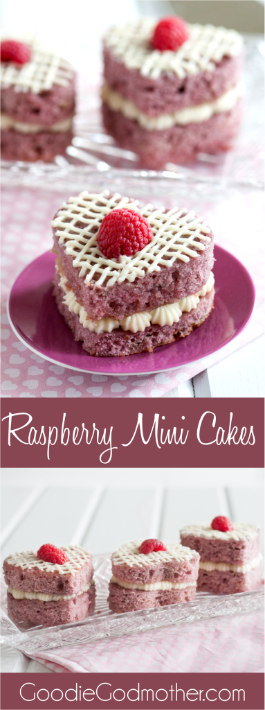 Fresh Raspberry Mini Cakes - A perfect Valentine's Day dessert without chocolate! These are so easy to make, even for a novice baker. They're the perfect size for eating alone, sharing with someone you love, or they package beautifully for a thoughtful gift. Recipe on GoodieGodmother.com