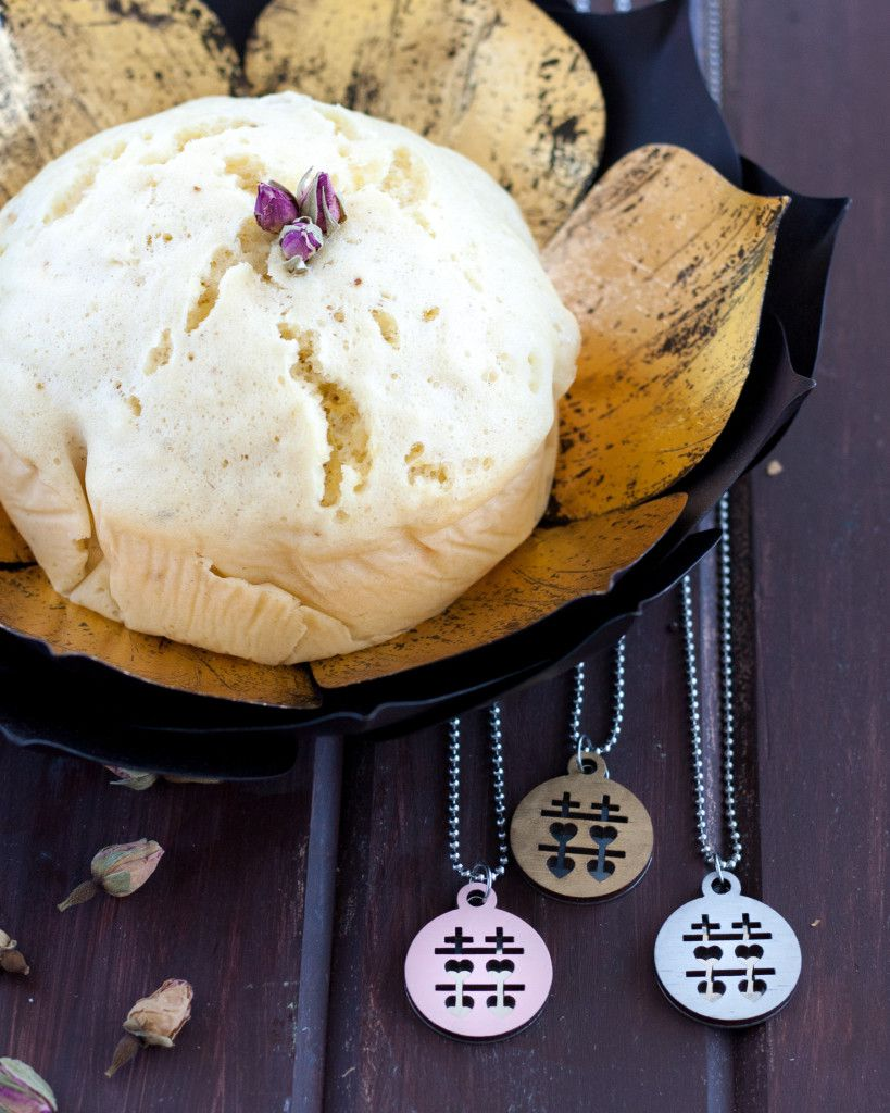 Rose Ginger Chinese Steamed Cake - A modern take on a traditional Chinese New Year Dessert. Recipe on GoodieGodmother.com