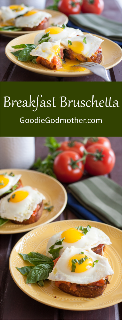 Breakfast Bruschetta Recipe - Simple flavors make this a beautiful and easy breakfast anyone can make and enjoy! Recipe on GoodieGodmother.com