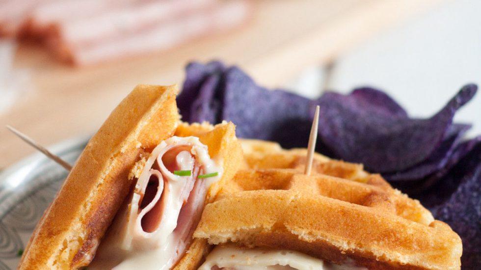 Croque Monsieur Waffle Sandwich