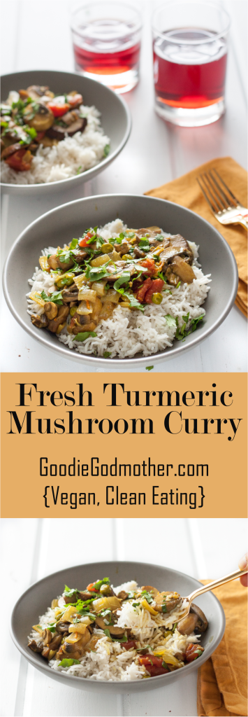 Fresh Turmeric Mushroom Curry Recipe - Vegan, clean eating, but really flavorful and loaded with good for you ingredients! * GoodieGodmother.com