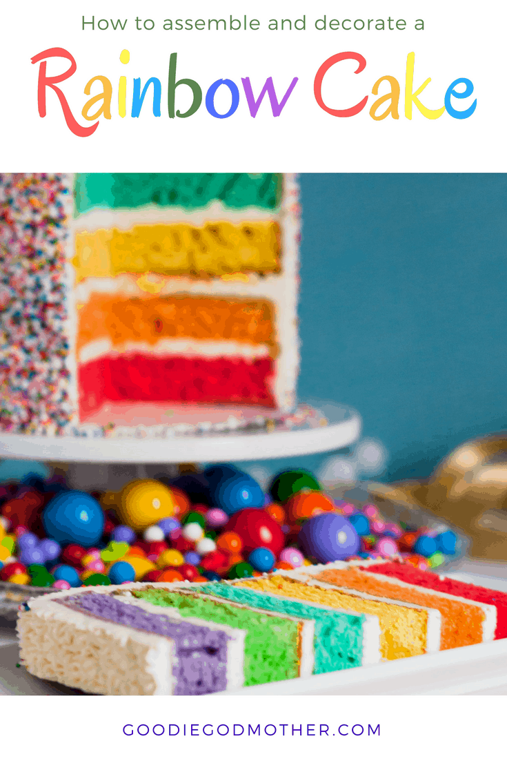A sprinkle-coated colorful cake makes a beautiful centerpiece dessert for a party. Learn how to decorate a rainbow cake like a pro with my easy-to-follow tutorial. * GoodieGodmother.com