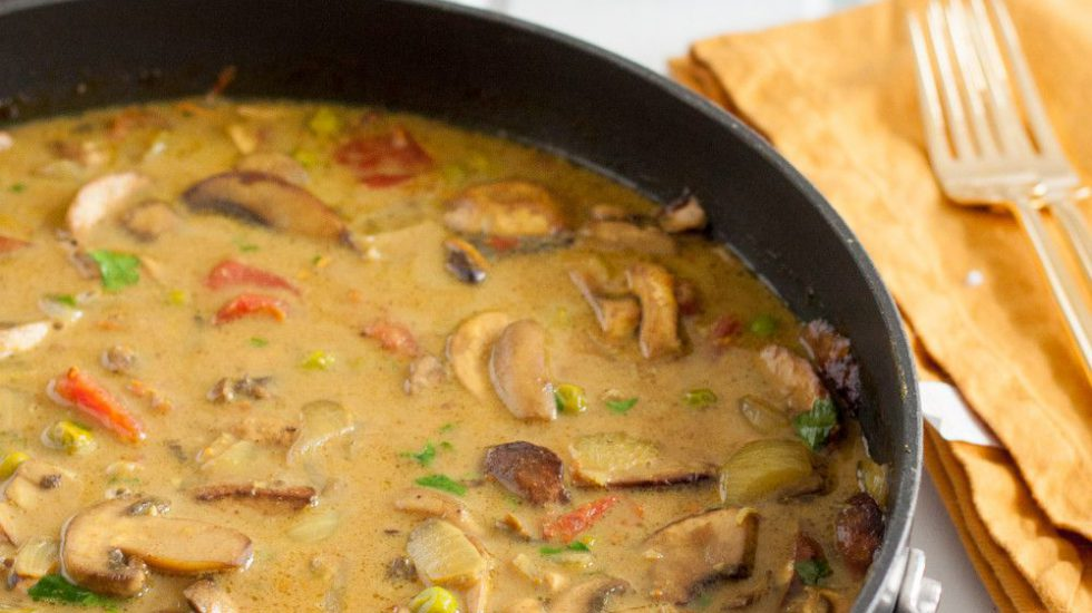 Mushroom Curry With Fresh Turmeric