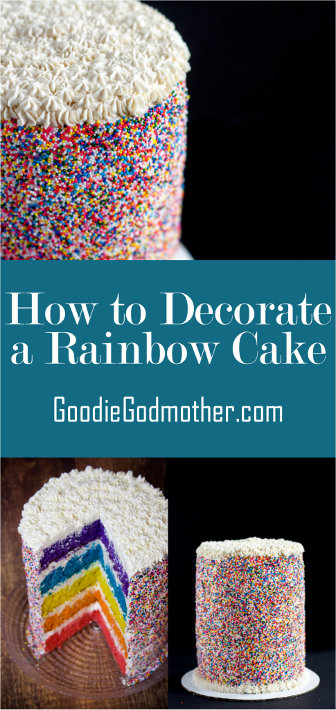 How to Decorate a Rainbow Cake with Sprinkles - The blog post and included video will show you my favorite method for covering a buttercream cake with an even layer of sprinkles. With easy to follow instructions, even a home baker can achieve professional results.