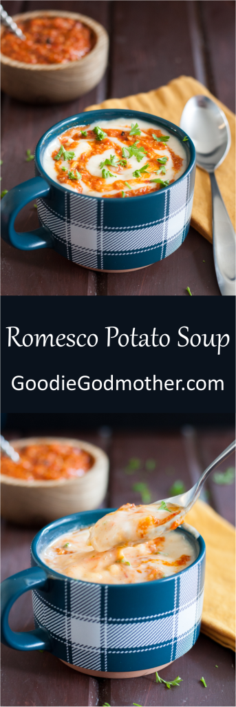 A classic potato soup recipe is extra delicious topped with romesco sauce! It's a great weeknight dinner idea, and reheats well for lunch the next day. Recipe on GoodieGodmother.com