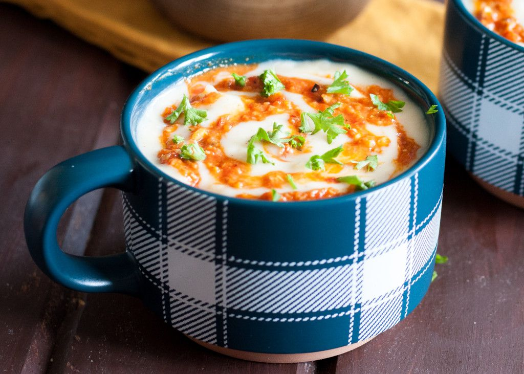 A classic potato soup recipe is extra delicious topped with romesco sauce! It's a great weekend dinner idea, and reheats well for lunch the next day. Recipe on GoodieGodmother.com