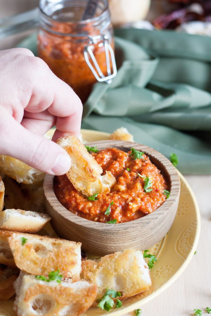 Enjoy this delicious red pepper dip from Spain with just minutes of prep time! Easy Romesco Sauce Recipe on GoodieGodmother.com
