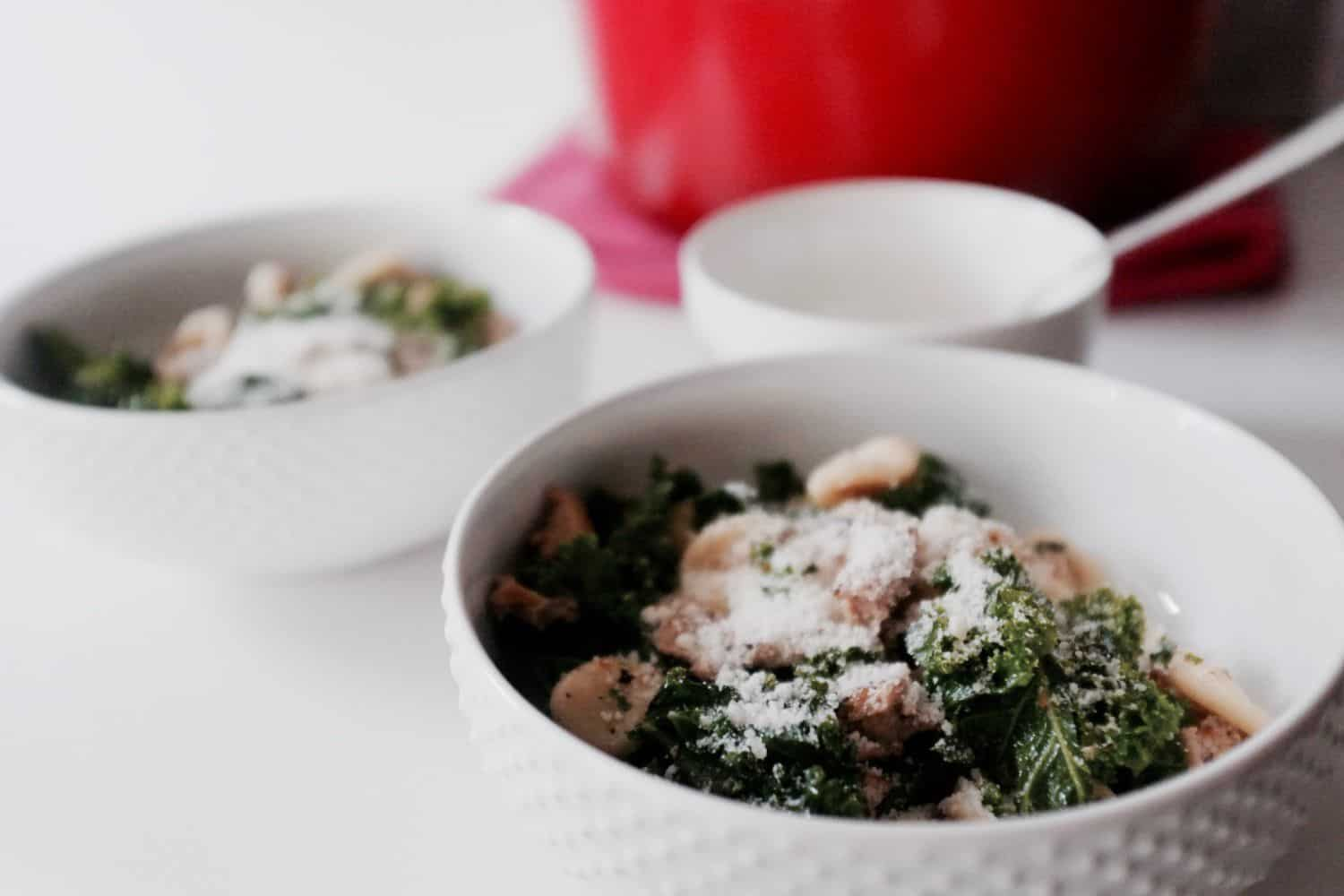 Oricchette Pasta with Kale and Ground Turkey - A versatile pasta recipe perfect for romantic dinners, dinner parties, or lunch at the office! Recipe on GoodieGodmother.com