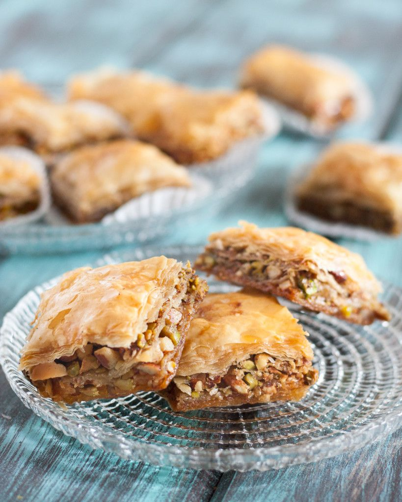 Pistachio Baklava recipe - sweet, perfectly spiced, and easily customized with walnuts or almonds instead. Recipe on GoodieGodmother.com