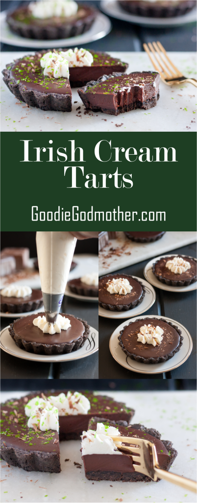 Irish Cream Tarts - A perfect St Patrick's Day dessert for the chocolate lover! Recipe on GoodieGodmother.com