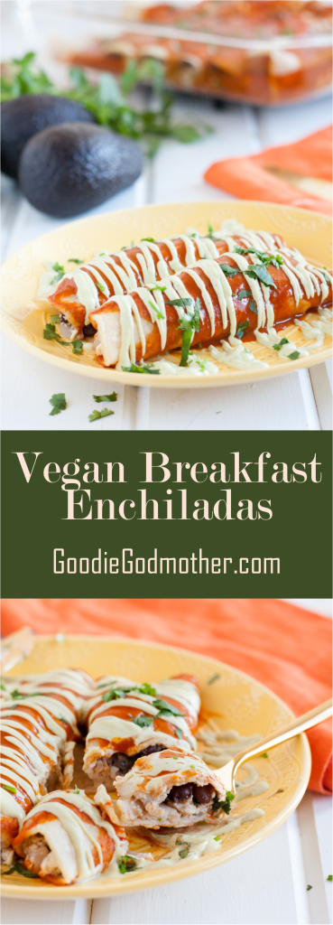 "Vegan breakfast enchiladas! A delicious, savory vegan breakfast recipe that's so good, even ""tofu haters"" won't care. Recipe on GoodieGodmother.com"