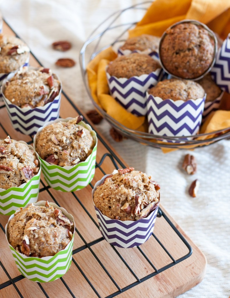 Chai Banana Muffins - whole wheat banana muffins with a chai twist! Delicious and freezer friendly for a better breakfast on the go. Recipe on GoodieGodmother.com