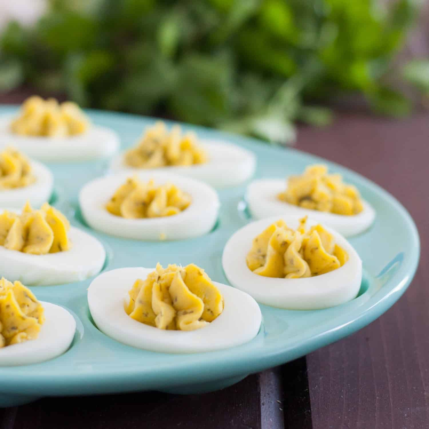 Chimichurri deviled egg recipe - a unique and flavorful deviled egg recipe with NO mayo that everyone loved!